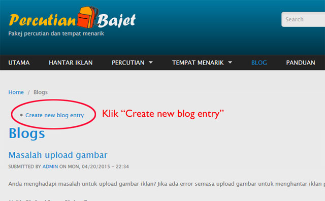 Create new blog entry.